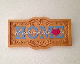 HOME is where the heart is- Hand painted wood plaque- 18019