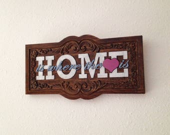 HOME is where the heart is- Hand painted wood plaque- 18017