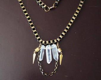 Quartz crystal necklace, raw crystal necklace, quartz necklace