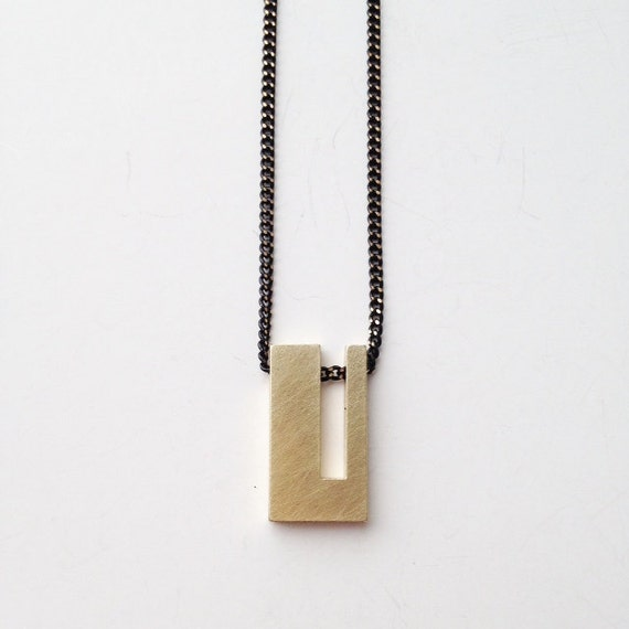 Geometric necklace Minimalist Jewellery contemporary jewellery mens jewerly modern jewerly simple jewelry brass Necklace
