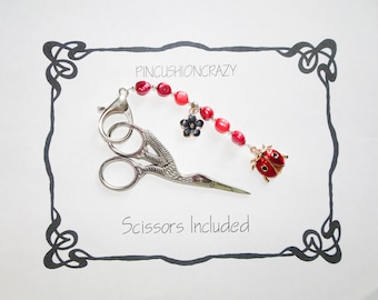 Scissor Fob - Purse Charm - Retreat Gift - Gift for Sewer Quilter - Stork Scissors Included - Freshwater Pearls - Girlfriend Gift
