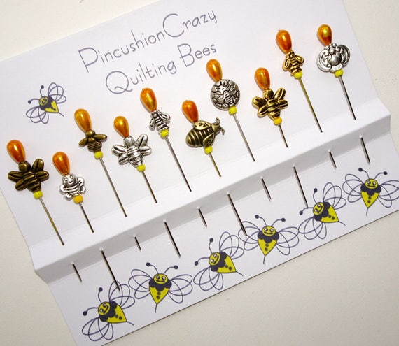 Decorative Quilting Bees - Bee Pins - Pincushion Pins - Sewing Accessory - Insect Pins - Gift for Quilter - Fancy Sewing Pins - Sewing Gift