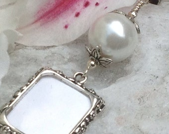 Wedding bouquet photo charm. Memorial picture frame charm. Remember your loved ones and keep them close.