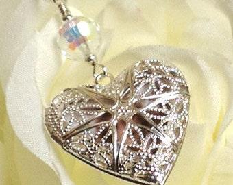 Heart shaped Wedding bouquet charm locket. Crystal or pearl bridal bouquet charm. Bridal shower gift.