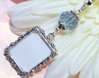 Wedding bouquet photo charm. Something blue for a bride. True blue Memorial photo charm. Gift for her. Bridal shower gift. Co-worker gift