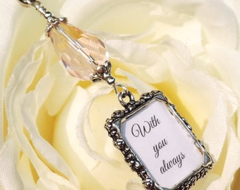 Wedding bouquet photo charm with Pink teardrop crystal and small picture frame. Bridal bouquet charm. Gift for the bride. Bridesmaid gift.