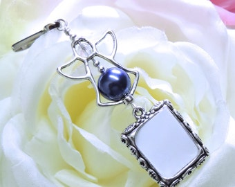 Dark blue angel wedding bouquet memory charm. Something blue. Memorial photo charm gift for a bride. Navy blue pearl and angel. Sister gift