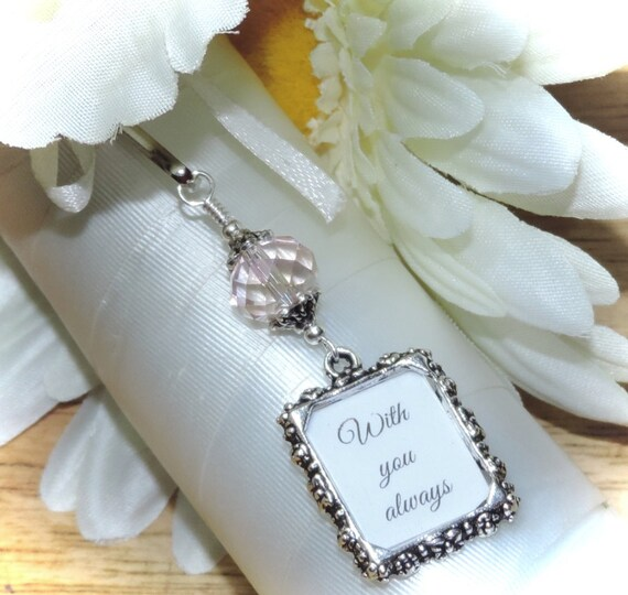 Wedding Bouquet Photo Charm Pink Crystal With Small Picture Etsy