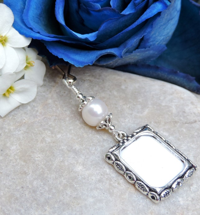 Wedding Bouquet Photo Charm Gold Pearl Small Picture Frame Charm