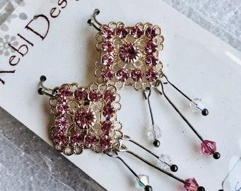 Clearance - Pale pink Swarovski Earrings