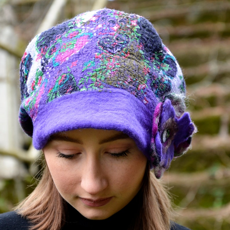 df0f1caba95 Beanie hat Women s felt hat Slouchy beanie Purple cap