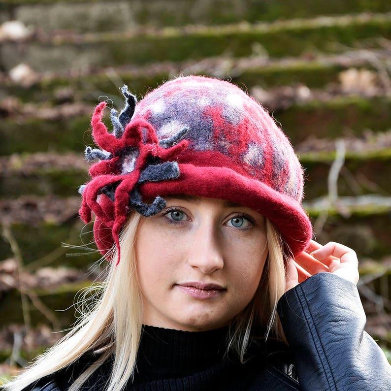9f790cc7f90 Felted wool hats Felt hat Red Hat Womens winter hats Bowler