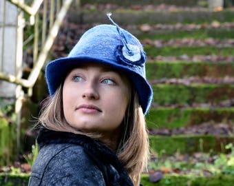 Felt fedora, Felted wool hats, Womens winter hats, Felt hat for women, unique felt hat, Felt hat, Women's wool hat, wearable art, RESERVED