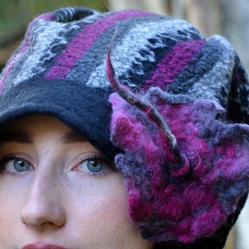 felt hat for women handmade with black merino wool and nuno felted with a patterned fabric Womens Unusual gifts. A ladies wool floppy hat