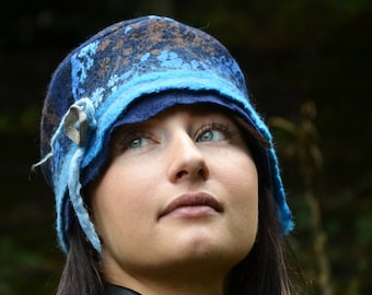 Blue wool felt hat nuno felted with a flower fabric, A stylish and unique gift for her.