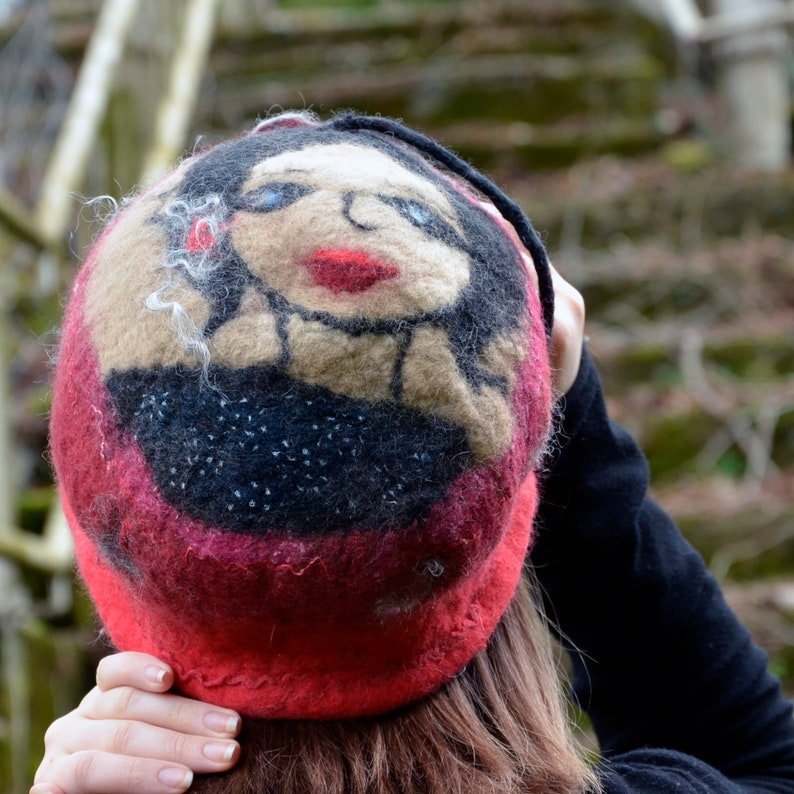 with a felt portrait of a girl for a unique gift. 1920s Cloche in red merino wool