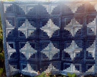 """Blue Jean Quilt Log Cabin Circles Upcycled Denim  Blue and White Circles and Diamonds Patchwork 45"""" x 58"""" Hand Embroidered  Milkweed Seeds"""