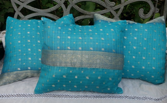 Silk Sari Pillow Covers Light Blue Silver And Gold Vintage Etsy