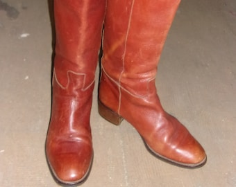 Vintage Joan & David Brown Leather Cowboy-Look Boots 38 1/2