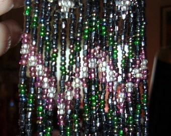 """Vintage Aztec-Like Design Hippie 4 1/2"""" LONG Beaded Pierced Earrings"""