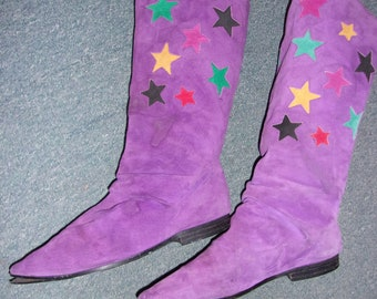 Vintage Purple Suede With Stars Boots 8 1/2  OBO OBO