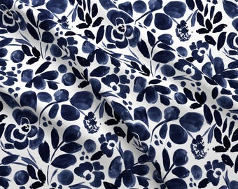 Blue Floral Fabric Etsy