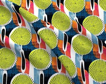 1950er Jahre Vintage Blue Abstrakte Seiden MCM Fabric Print