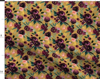 Plum Rose Premium Quilting Cotton Fabric By The Half Yard HARMONY COTTON