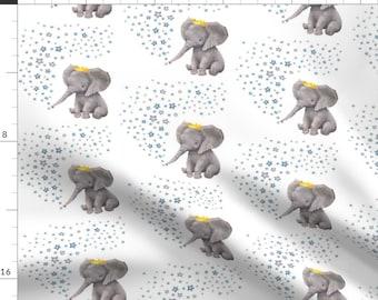 Phinnaeus and Son Elephants NEW on fabric 18 x 21