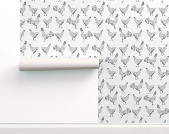 Peel-and-Stick Removable Wallpaper Chicken Hens Quirky Birds Rooster Eggs Happy