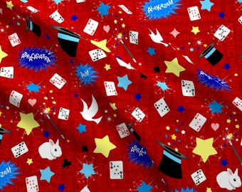 10de44b28 Magician Fabric - Magic / Magician Pattern In Red By Inspirationz- Magic  Magician Tricks Show Red Cotton Fabric By The Yard With Spoonflower
