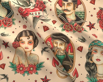 Tattoo Fabric - Old School Tattoo Beige Large By Crixtina - Tattoo Beige  Red Blue Vintage Decor Cotton Fabric By The Yard With Spoonflower d87a1795b6f