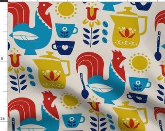 Scandinavian Custom Curtain Panel by Spoonflower Rooster Curtain Panel Morning Kaffe Xl by cindylindgren
