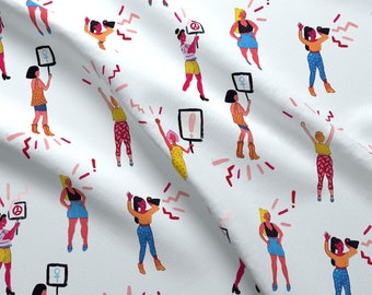 Sisterhood Dancing Women Fabric - March! By Little Luck Designs - Sisterhood People Illustration Cotton Fabric By The Yard With Spoonflower