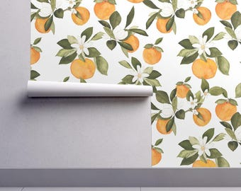 Oranges Wallpaper   Orange Blossom By Mintpeony   Fruit Vintage Kitchen  Custom Printed Removable Self Adhesive Wallpaper Roll By Spoonflower