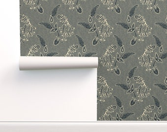 Indian Paisley Wallpaper Modern Home Custom Printed Removable Self Adhesive Wallpaper Roll by Spoonflower Mumbai In Gray By Domesticate