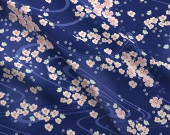promo code 75727 37a85 Cherry Blossoms Fabric - Sakiko By Lilyoake - Japanese Cherry Blossoms  Floral Flowers Pink Blue Cotton Fabric By The Yard With Spoonflower