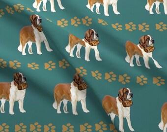 4088313eca4c Saint Bernard Fabric - Saint Bernard With Barrel For Fabric By Dogdaze - Saint  Bernard Paw Prints Cotton Fabric By The Yard With Spoonflower