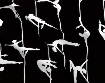 1b51807aa6d50 Fitness Black And White Acrobatics Fabric - Pole Dance By Sveta Aho -  Fitness Acrobatics Cotton Fabric By The Yard With Spoonflower