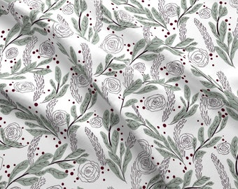 Cheerful Gray Roses Illustration Fabric - Warm Holiday Hearth By Little Luck Designs - Cheerful Cotton Fabric By The Yard With Spoonflower