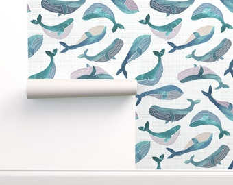 Neutral Whales Wallpaper Blissful Whales With Bubbles by breetrulove Humpback Whales  Ocean Bubbles Wallpaper Double Roll by Spoonflower