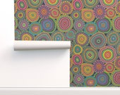 Millefiori Wallpaper - Granny 39 s Crazy Patchwork Quilt By Groovity - Custom Printed Removable Self Adhesive Wallpaper Roll by Spoonflower