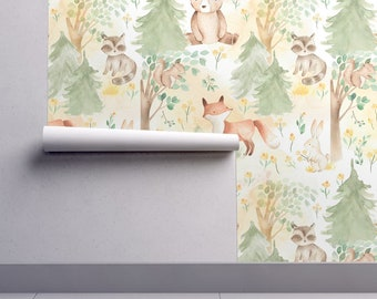 Animals Wallpaper - Woodland Baby Animals In Forest By Utart - Nursery Custom Printed Removable Self Adhesive Wallpaper Roll by Spoonflower