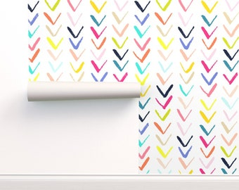 Spoonflower Custom Printed Removable Self Adhesive Wallpaper Roll Chevron Wallpaper Freeform Arrows Large in GrayWhite by Domesticate