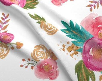 Teal floral fabric etsy large floral fabric gold teal pink floral by twodreamsshop boho pink flowers modern nursery cotton fabric by the yard with spoonflower mightylinksfo