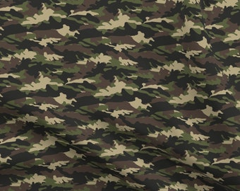 Flannel Military Max Army Soldiers Green Men on White Cotton Fabric Fat Quarter