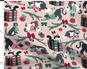 Christmas Kitty Cats Fabric - Fair Isle Knittens By Nanshizzle - Pet Cat Presents Christmas Cotton Fabric By The Yard With Spoonflower