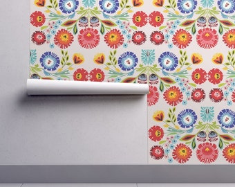folk art wallpaper etsydutch floral wallpaper wycinanki motif by gomboc folk art wycinanki custom printed removable self adhesive wallpaper roll by spoonflower