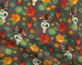 Skull Fabric - Dia De Los Muertos By Jennartdesigns - Skull Day Of The Dead Flowers Heart Wings Cotton Fabric By The Yard With Spoonflower