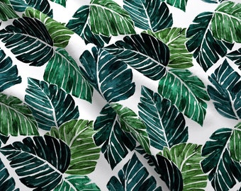 fab86cf8 Monstera Leaves Fabric - Monstera Leaves Medium By Crystal Walen- Tropical  Paradise Hawaii Plants Cotton Fabric By The Yard With Spoonflower